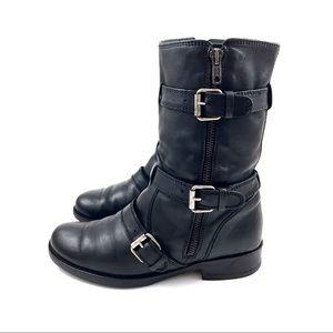 J.CREW black leather motorcycle combat boots